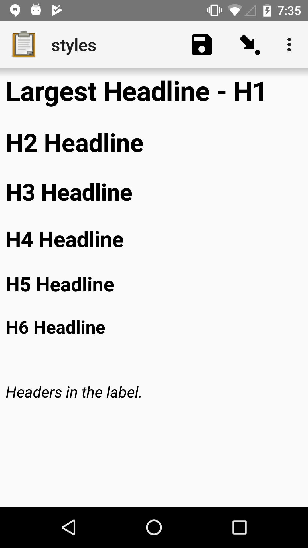 A note widget in Collect. The label is six headlines of decreasing size, with text describing the size as: H1, H2, H3, H4, H5, H6.