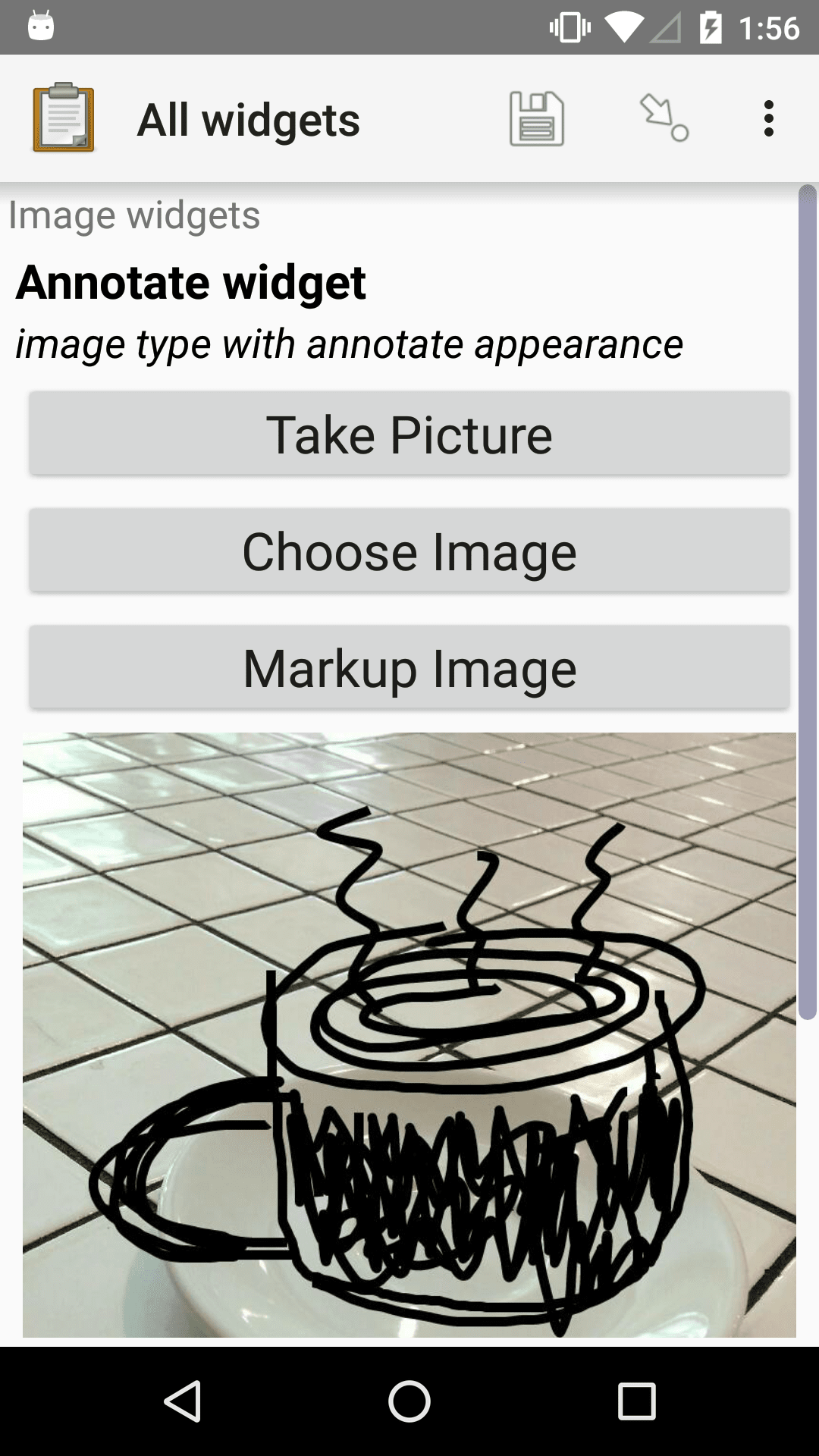 The Annotate form widget shown previously. The drawn-on picture is below the buttons.