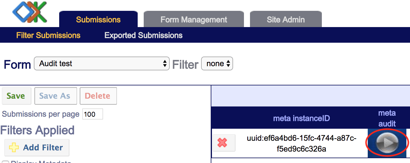 The Aggregate submissions page with a form that has an audit log. The media icon in the meta audit column is circled.