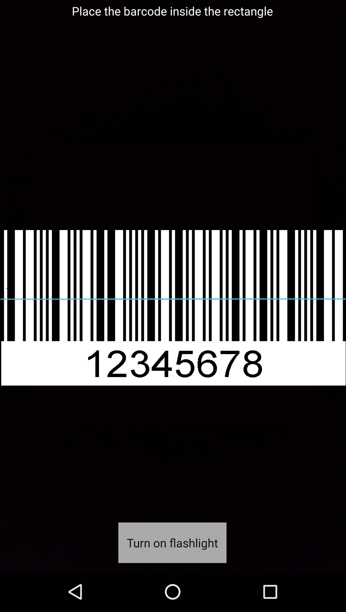 A barcode scanner on an Android device. A barcode is in the viewfinder, with a thin blue line across the barcode.