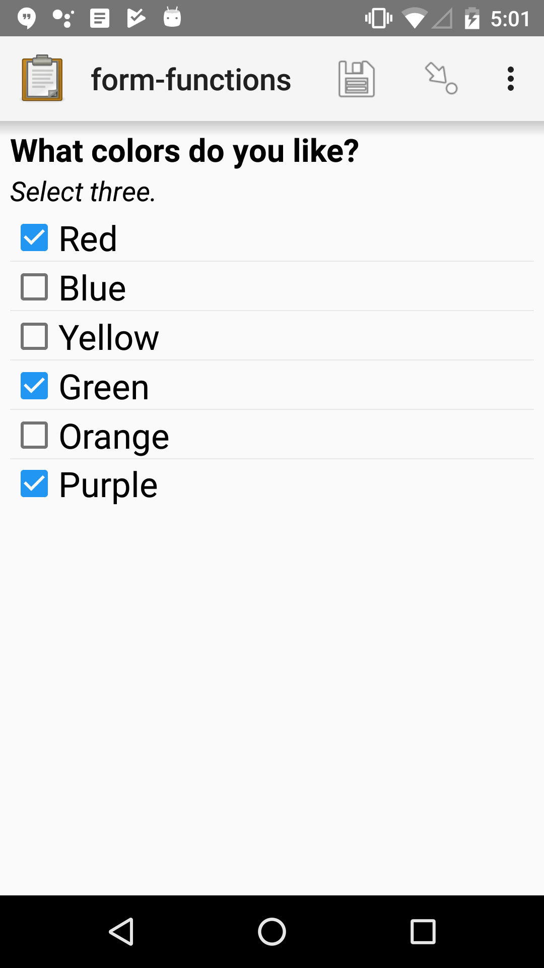 "A multi-select widget in Collect. The label is ""What colors do you like?"" Several color names are presented as options. Red, Green, and Purple are selected."