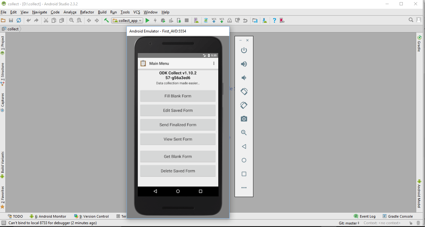Image showing collect app on the emulator screen