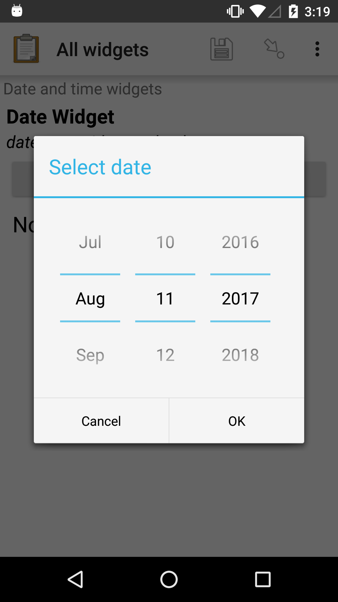 "The date widget shown previously, with a pop modal. The headline of the modal is ""Select date."" There are individual ""spinner"" style selectors for month, day, and year. At the bottom of the modal are OK and Cancel buttons."