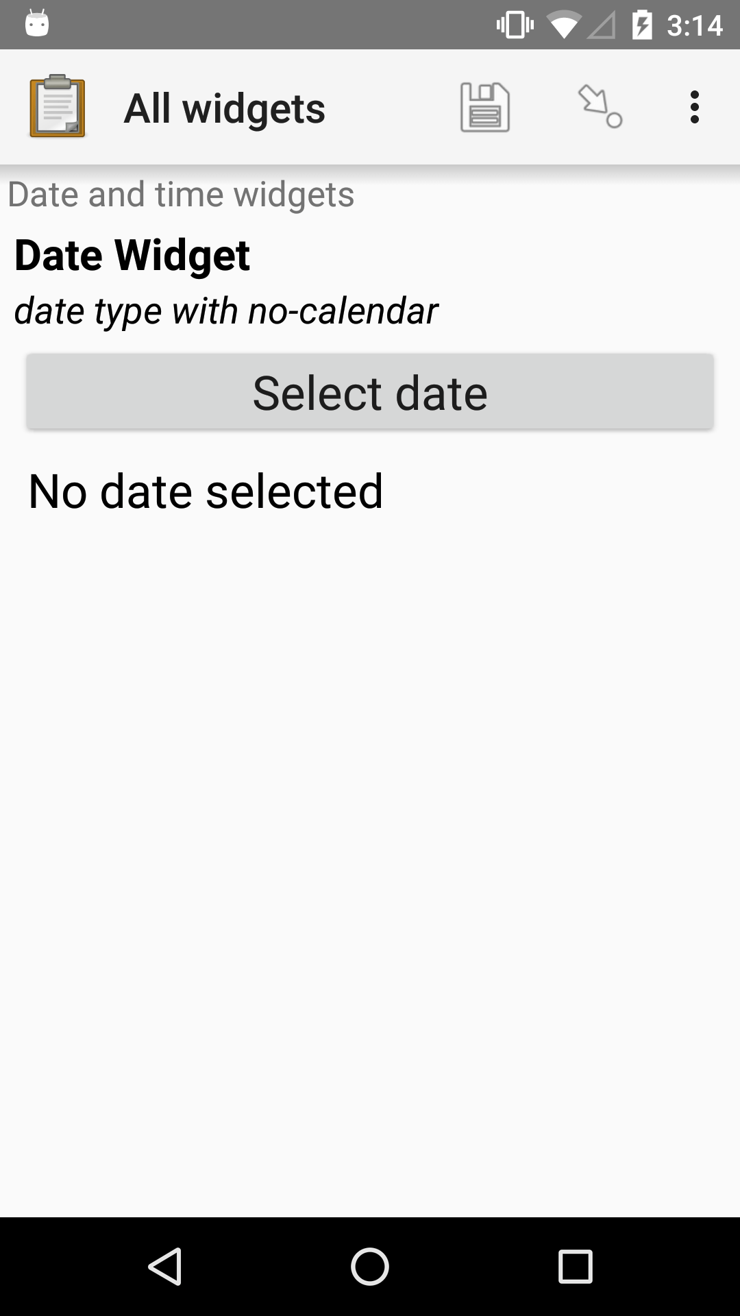 "The no-calendar Date form widget, as displayed in the ODK Collect app on an Android phone. The question text is, ""Date Widget."" The hint text is ""date type with no-calendar appearance."" Below that is a button labeled ""Select date."" Below the button is the text, ""No date selected."" Above the question text is the form group name ""Date and time widgets."""