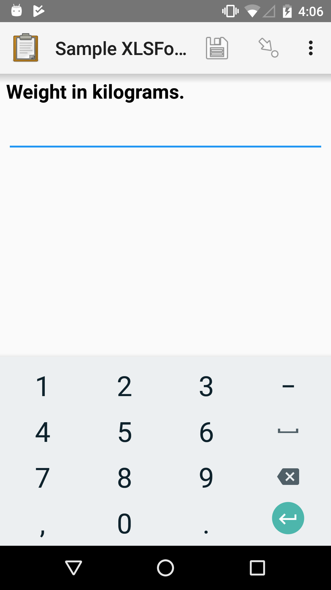 "An integer form widget displayed in ODK Collect on an Android phone. The question is ""Weight in kilograms."" A numerical keyboard is displayed."