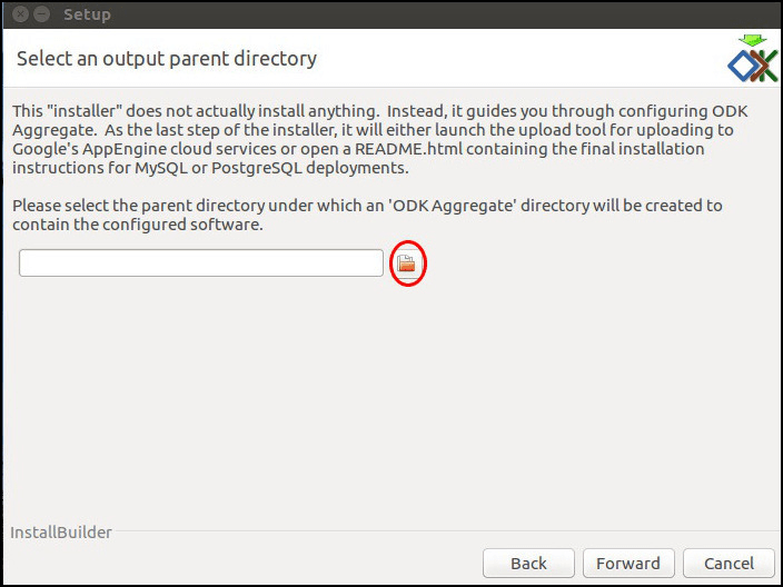 Image showing window to choose a parent directory.