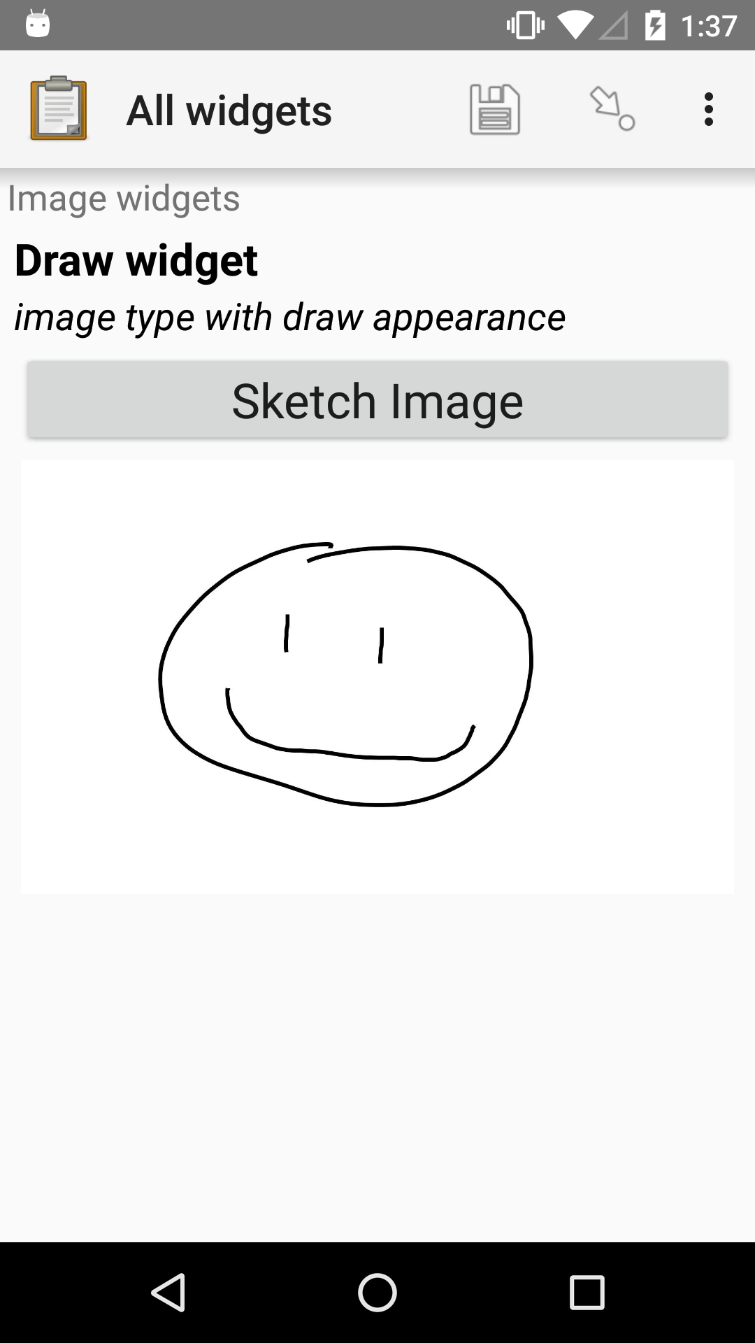 "The Draw widget as displayed previously. Below the ""Sketch Image"" button is the smiley face from the drawing pad image shown previously."