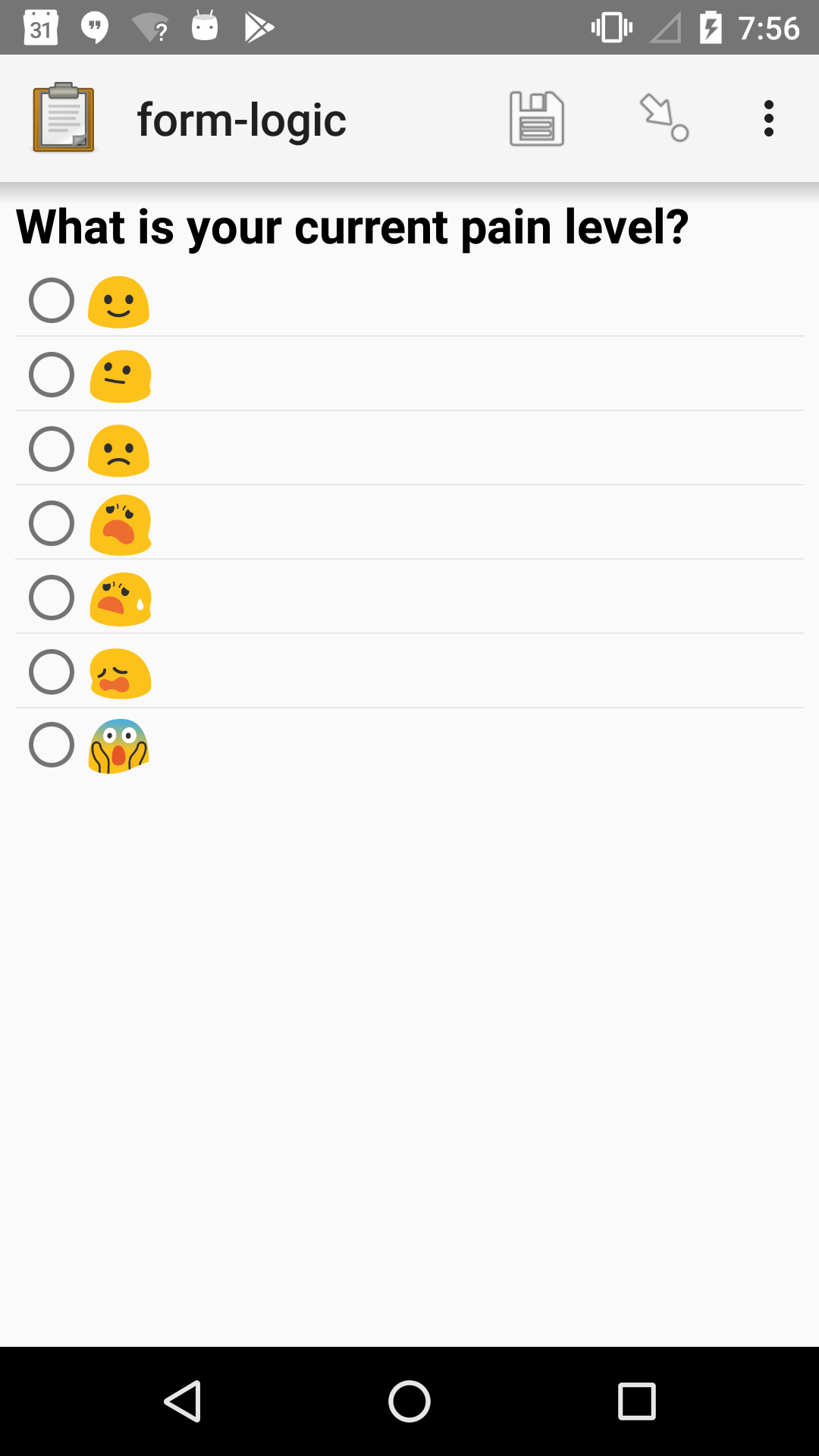 "A single select widget in Collect. The label text is ""What is your current pain level?"" The options are seven increasingly-unhappy emoji faces."