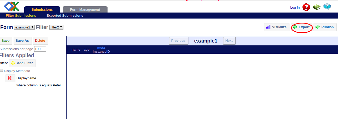 Image showing export option.