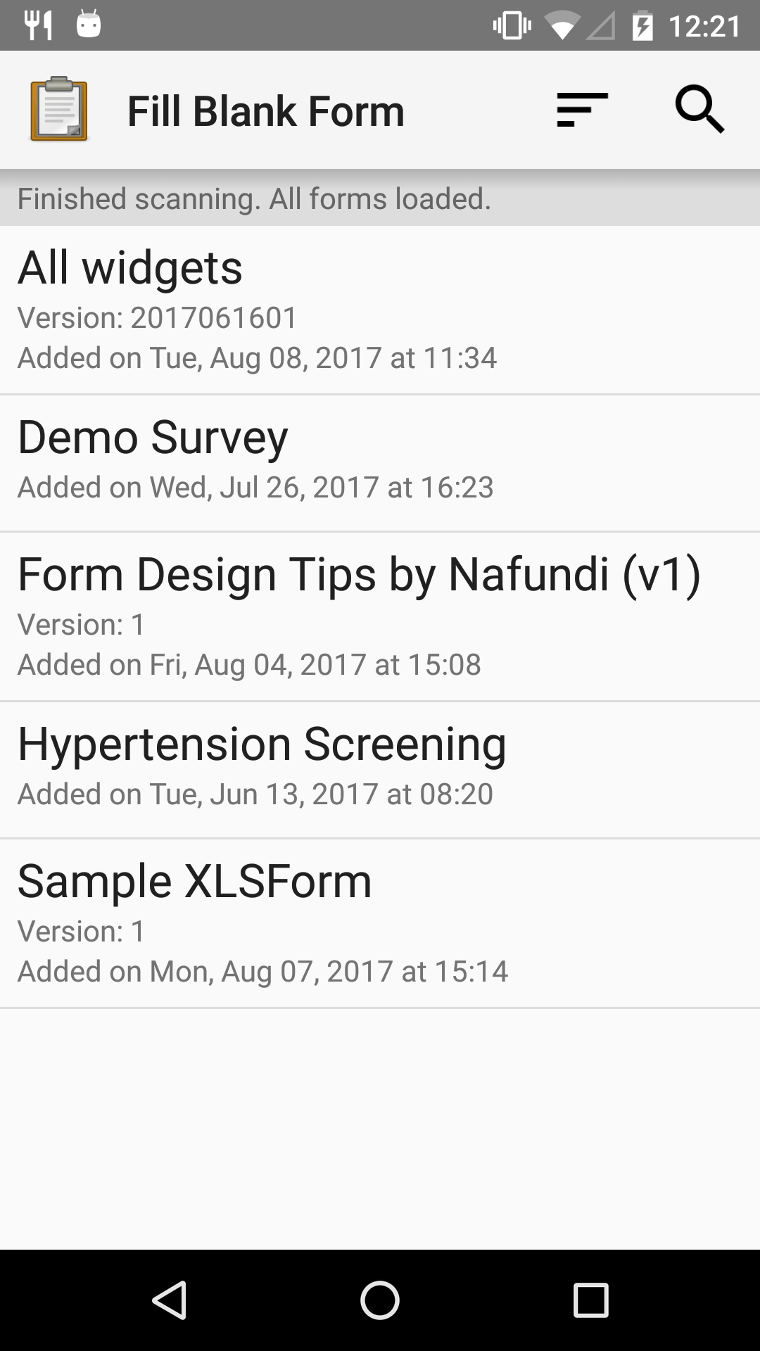 The Fill Blank Form menu in the Collect app. Several form titles are listed: *All widgets*, *Demo Survey*, *Form Design Tips by Nafundi*, *Hypertension Screening*, *Sample XLSForm*.