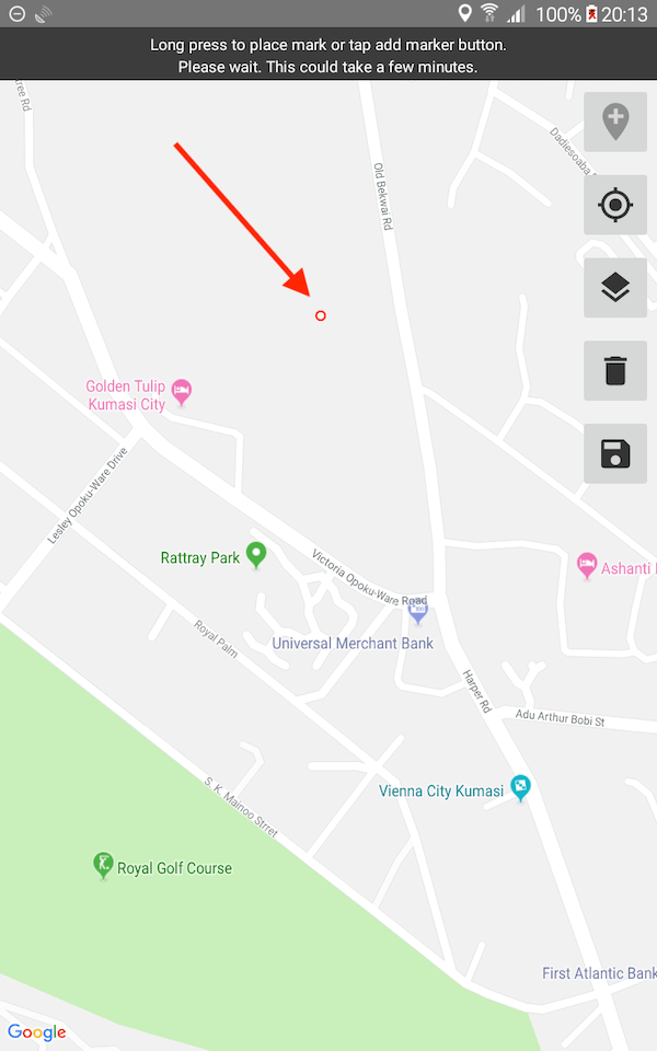 "A map app opens on an Android phone. Above the map is the message: ""Long press to place mark or tap add marker button."" Along the right side of the map are buttons: Add Marker, Zoom to point, Layers, Trash, Save."