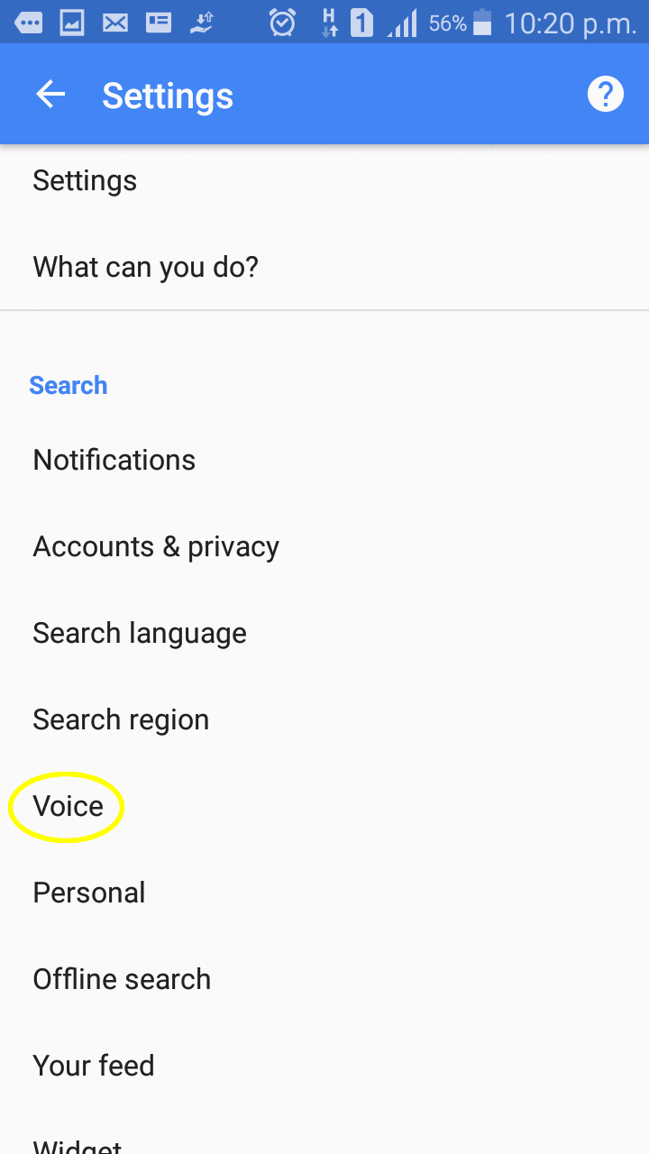 Image showing Voice option in the Search section.