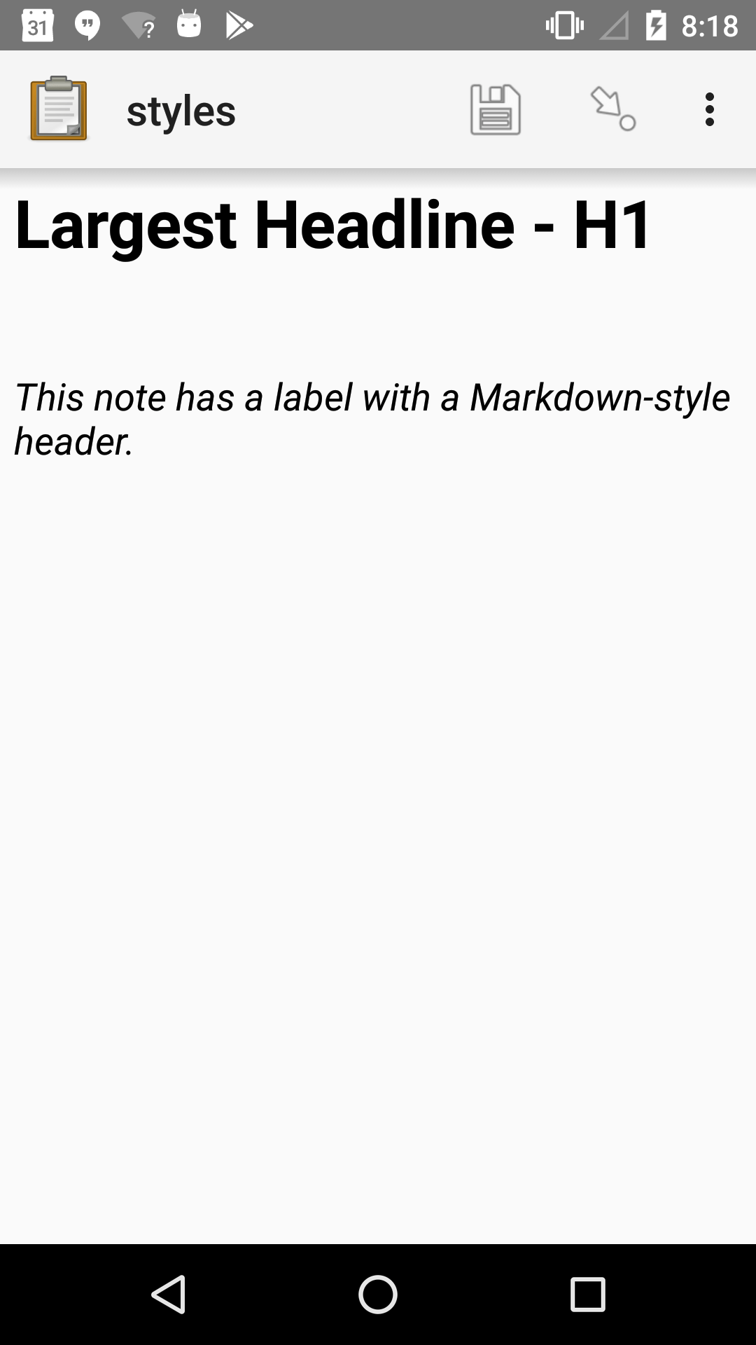 "A note widget in Collect. The label is a large headline reading ""Largest Headline - H1"". The hint text is ""This note has a label with a Markdown-style header."""