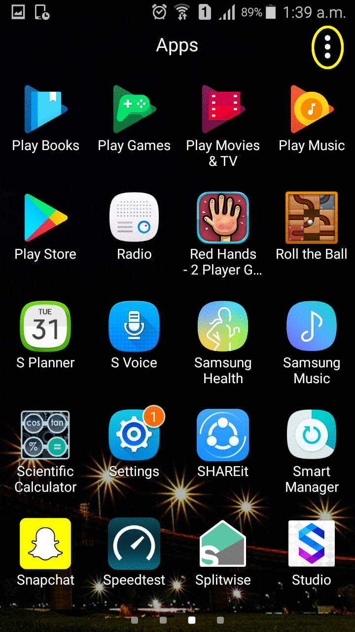 Image showing three dots on home screen.