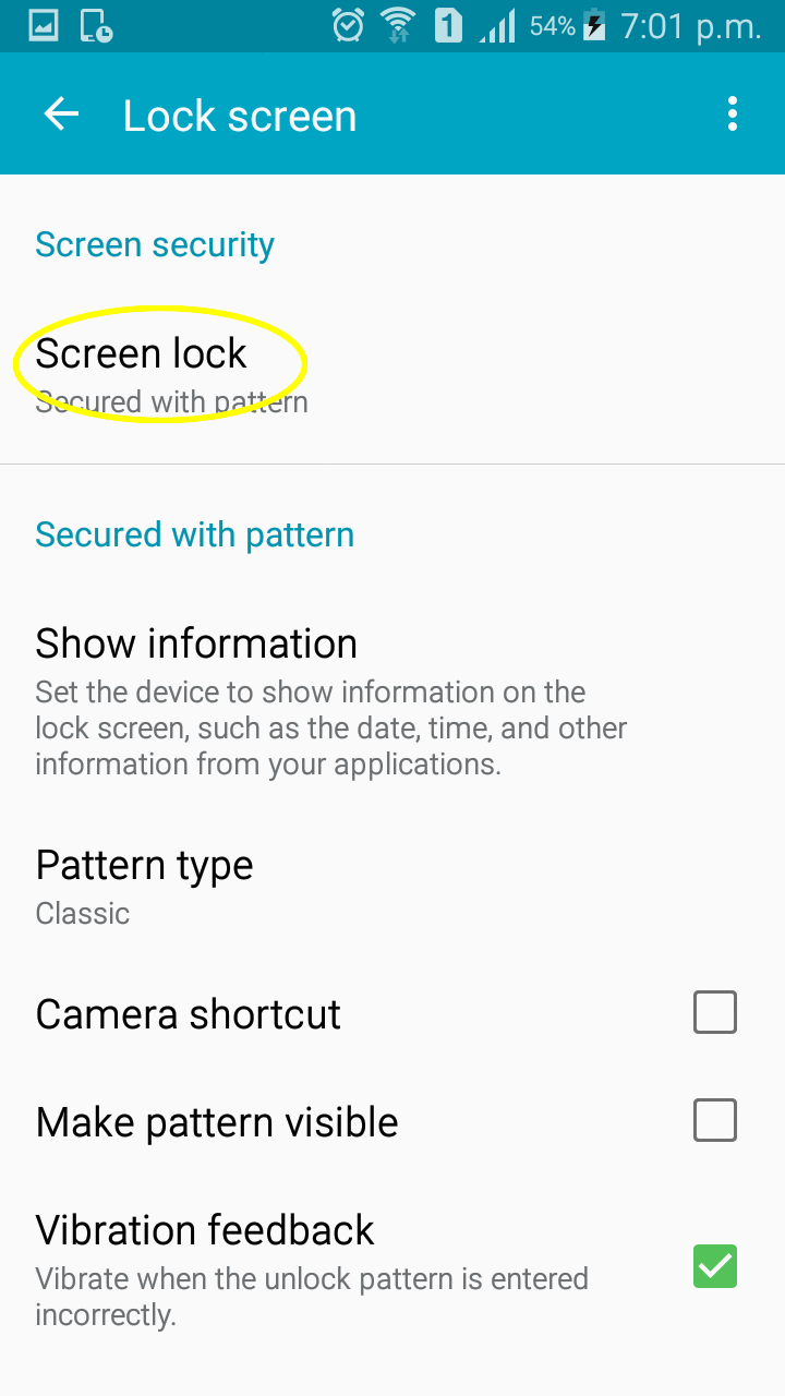Image showing Screen lock option.