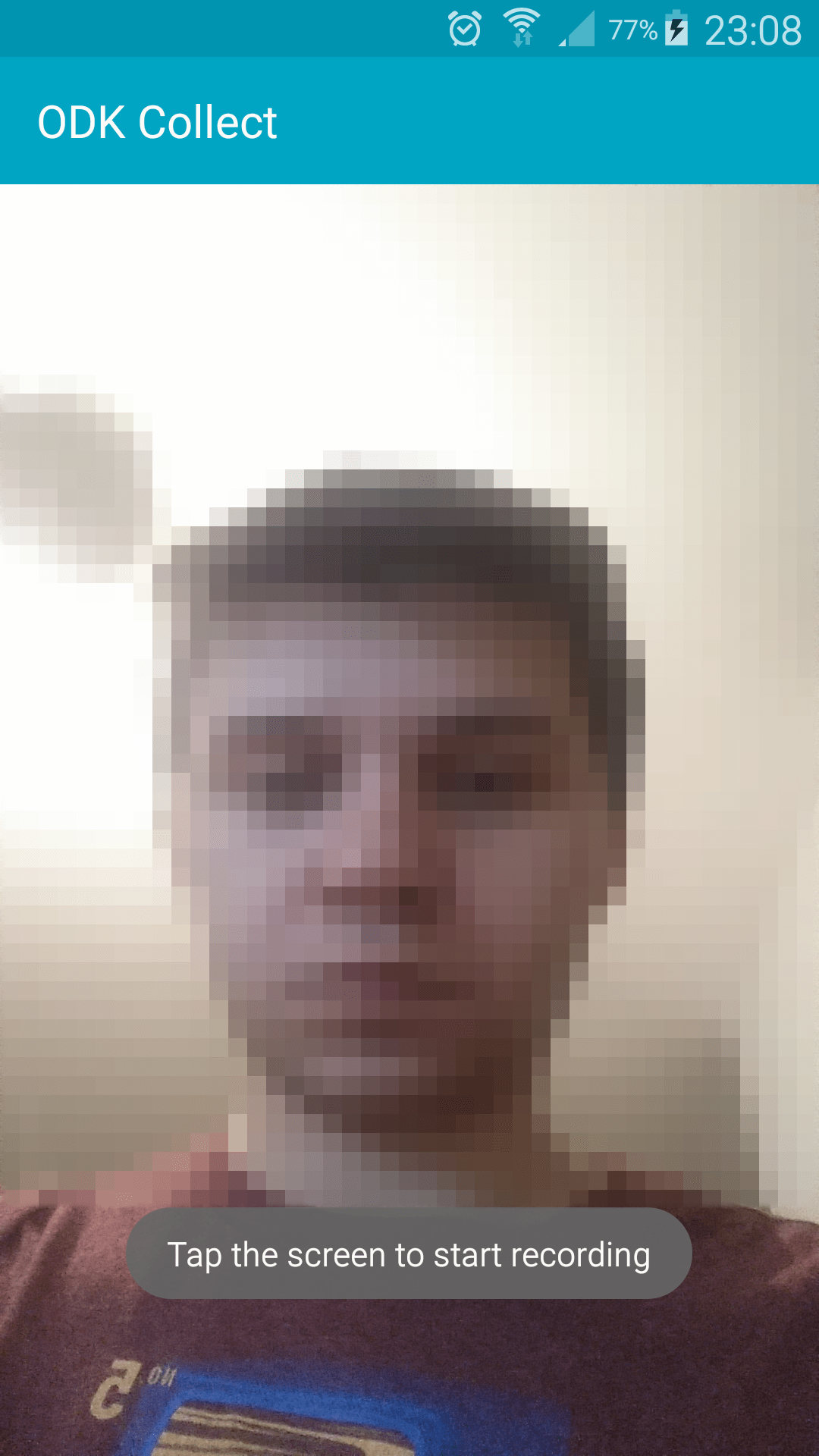 The camera view with a person's face.