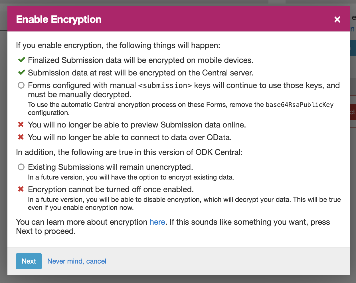 Encrypted Forms in Central — Open Data Kit Docs