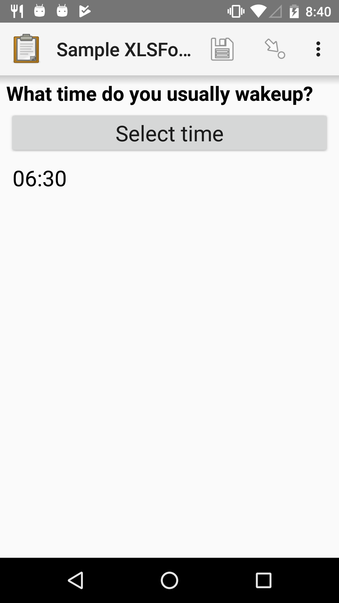 "The Time form widget as displayed previously. Below the ""Select time"" button is ""06:30""."